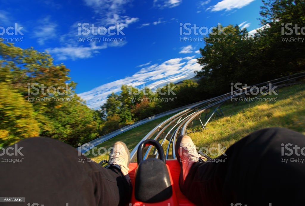 Summer toboggan-run from inside stock photo