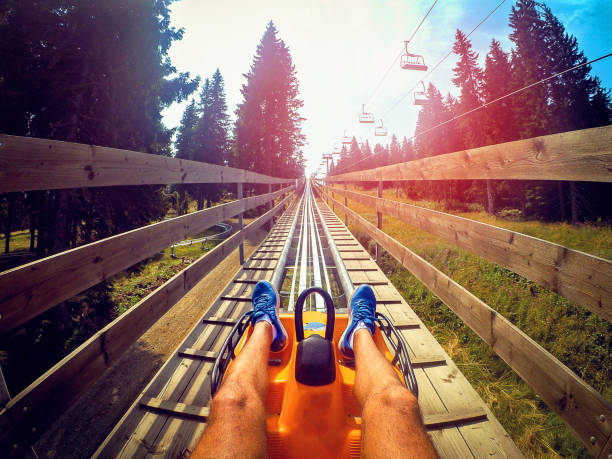 Summer toboggan-run from inside POV stock photo