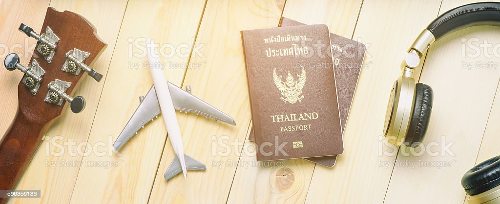 Summer Travel objects and music objects. royalty-free stock photo