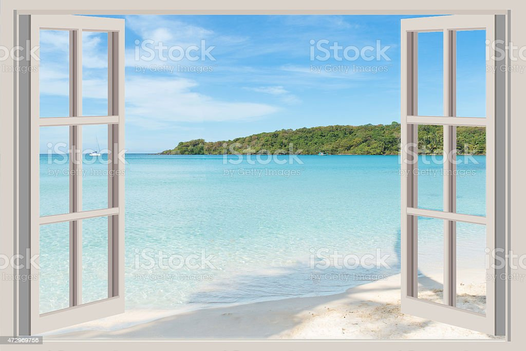 Summer, Travel, Vacation and Holiday concept - The open window, stock photo