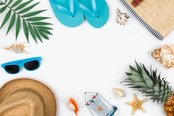 Summer travel vacation concept on white background with copy space stock photo