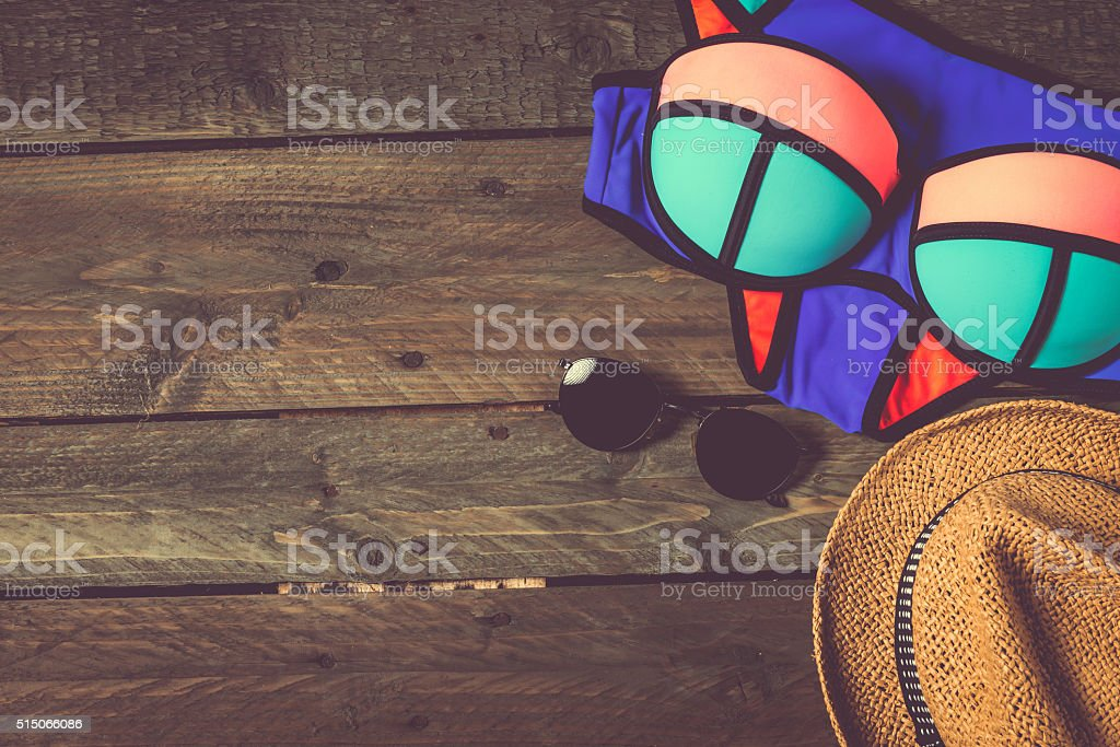 Summer traveling stuff stock photo