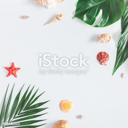 istock Summer tropical composition. Flat lay, top view, square, copy space 938480022