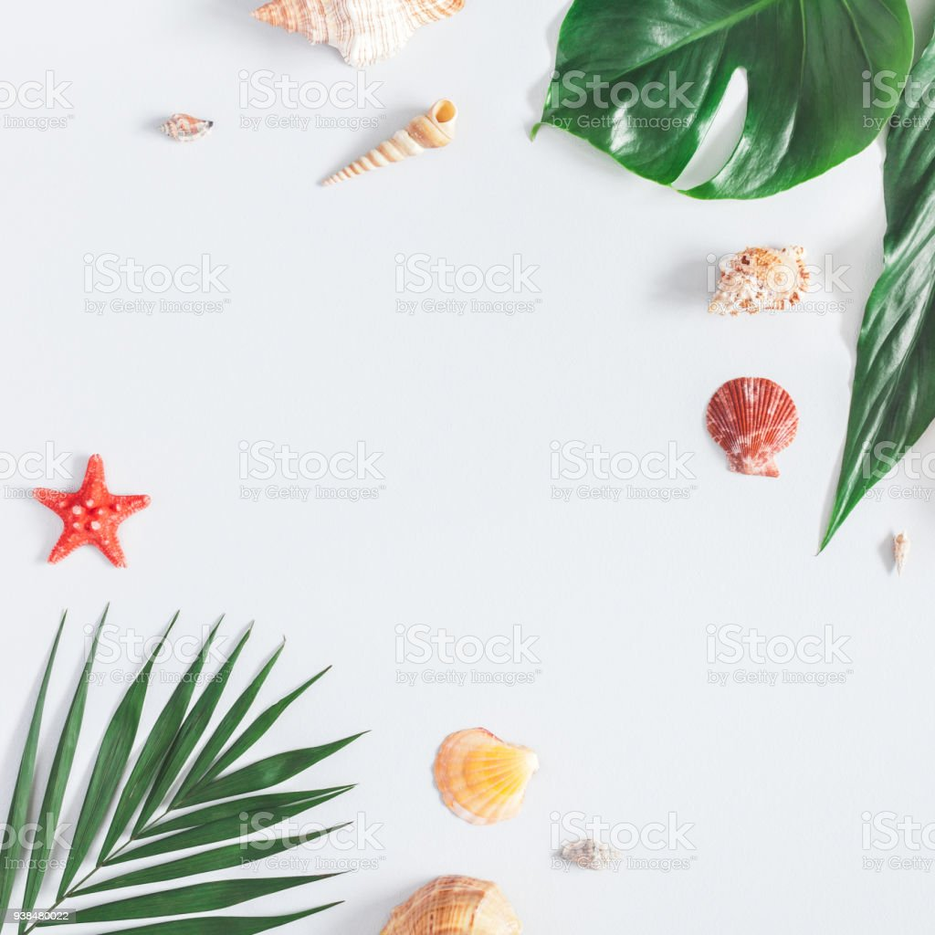Summer tropical composition. Flat lay, top view, square, copy space stock photo