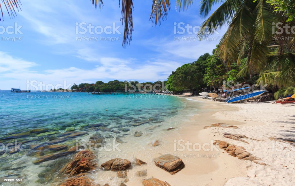Summer tropical sea and beach in blue sky. stock photo