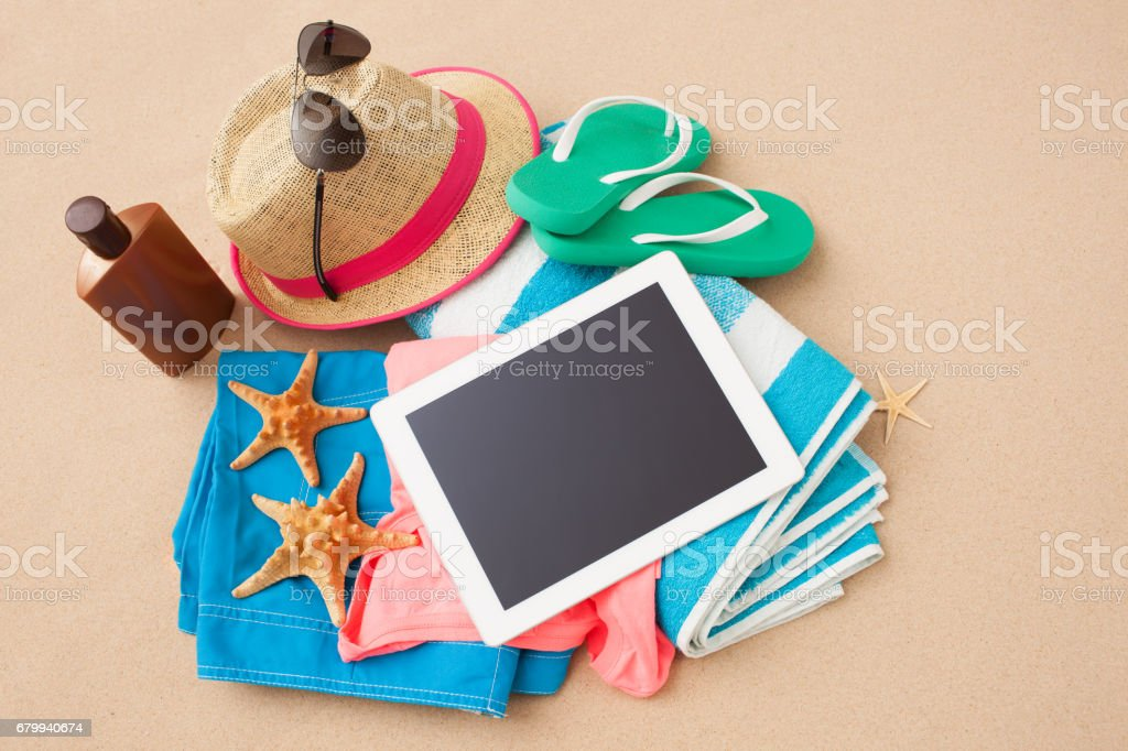 Summer vacation accessories. stock photo