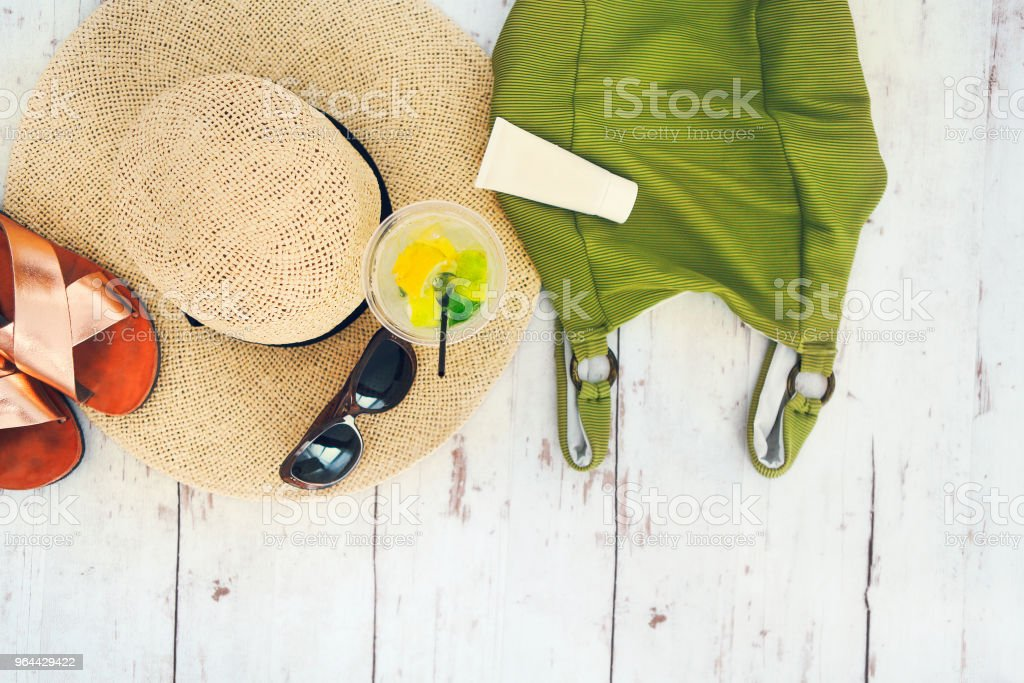 Summer vacation accessories top view - Royalty-free Adult Stock Photo