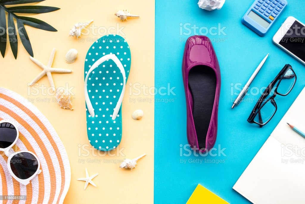 Summer vacation and job busy concepts with different lifestyle of...