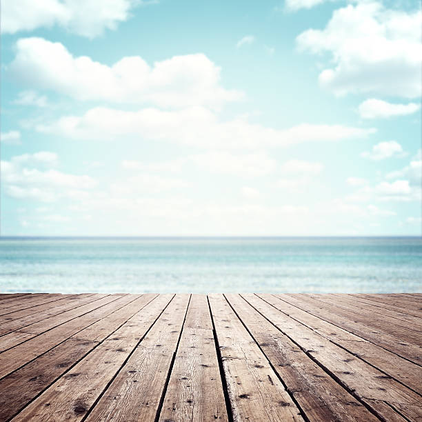 summer vacation background - pier stock photos and pictures
