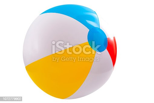 Summer vacation, beach toy and seaside fun activities concept with a inflatable beach ball isolated on white background with a clip path cut out