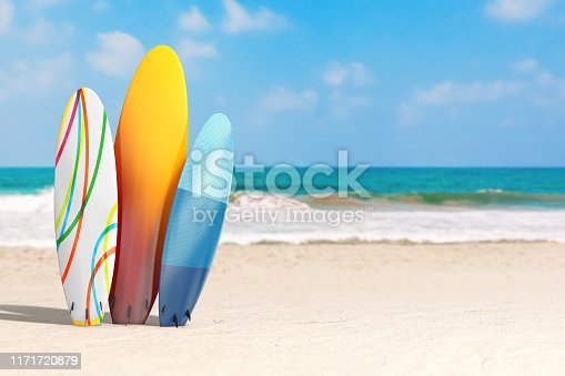 Summer Vacation Concept. Colorful Summer Surfboards on an Ocean Deserted Coast extreme closeup. 3d Rendering