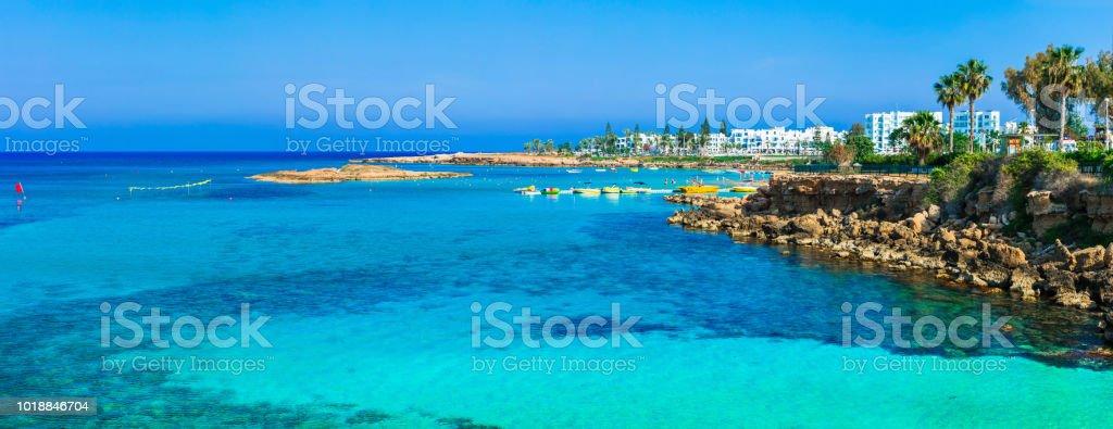 Summer vacation in Cyprus island. Protaras , Fig tree bay stock photo