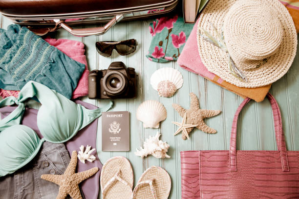 Summer vacation items arranged in knolling pattern. stock photo
