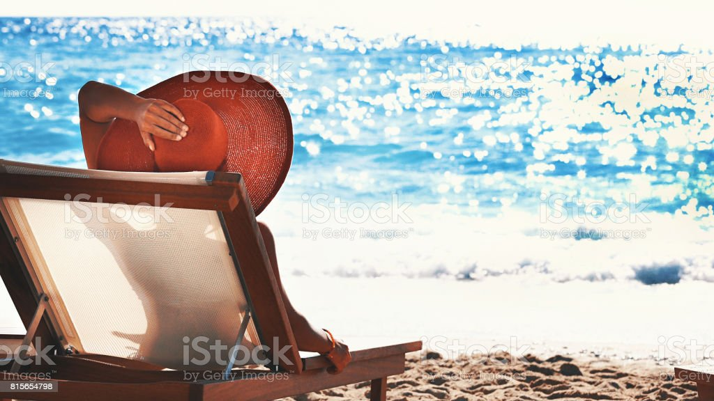 Summer vacation on a beach. stock photo