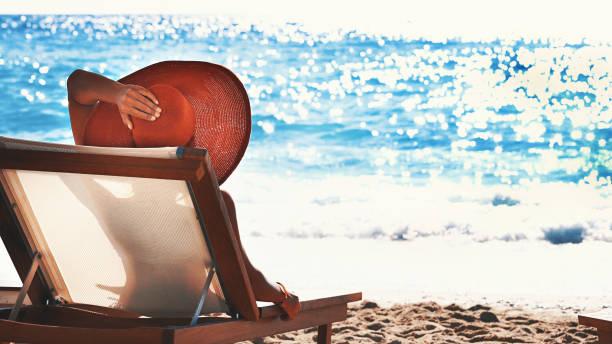 Summer vacation on a beach. stock photo