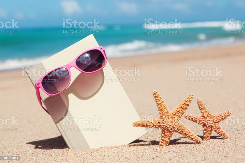 Summer Vacation Reading on the Tropical Beach Paradise Hz royalty-free stock photo
