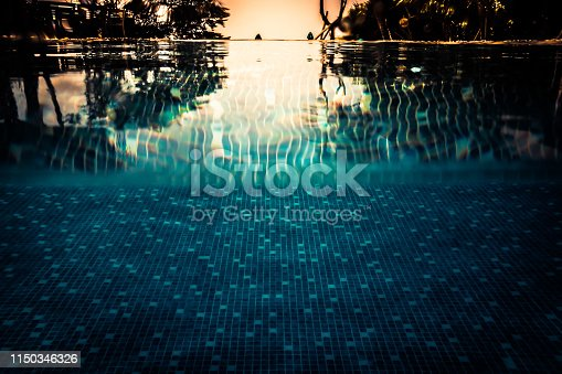 Summer vacation swimming pool background in vintage style with water level turquoise water as travel holidays lifestyle