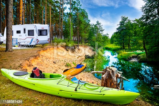 Summer vacation with a camper by the river Wda, Kashubia, Poland
