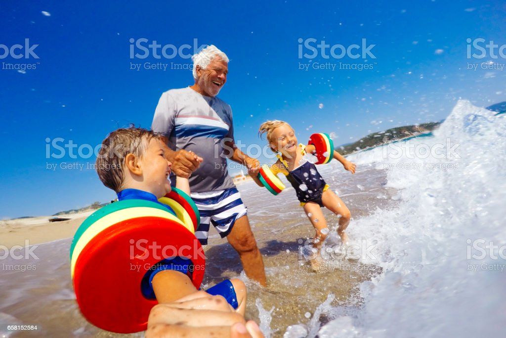 Summer vacation with grandpa stock photo