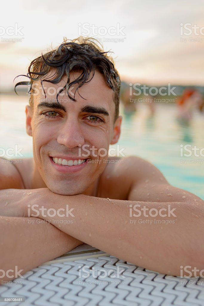 Summer Vacation Young Man Outdoors Swimming Pool stock photo