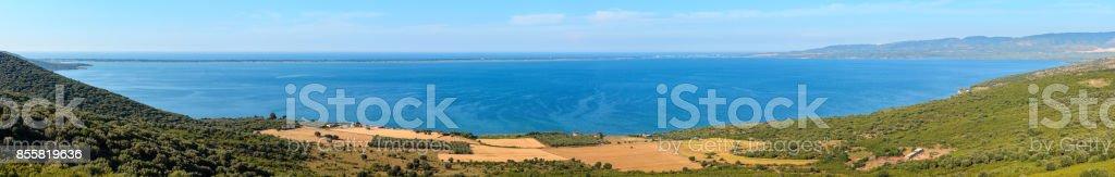 Summer Varano lake panorama, Italy. stock photo