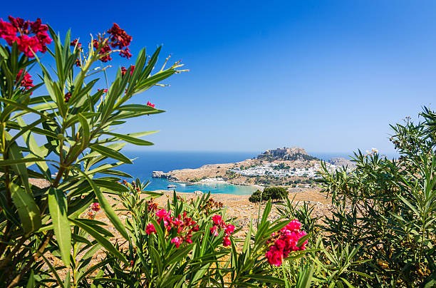 Summer view for Lindos village stock photo