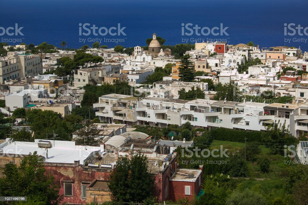 Summer view of Anacapri city - foto stock