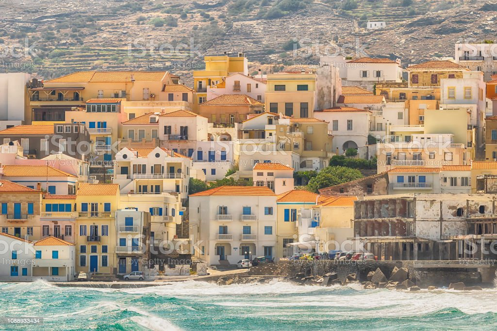 Summer view of Andros island in Greece. A beautiful touristic destination. stock photo