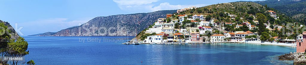 Summer view of Assos village (Greece,  Kefalonia). Panorama. stock photo