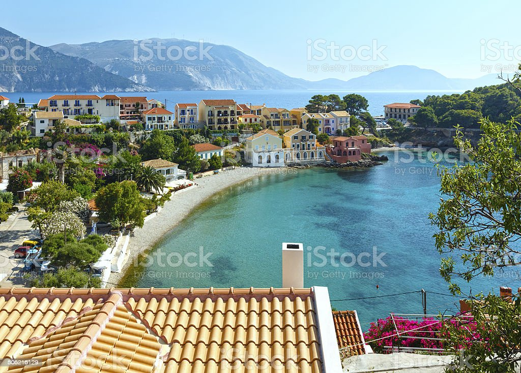 Summer view of Assos village (Greece,  Kefalonia). stock photo