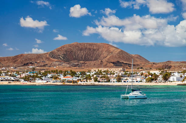 Summer view of Corralejo town from sea, Fuerteventura, Canary Islands stock photo