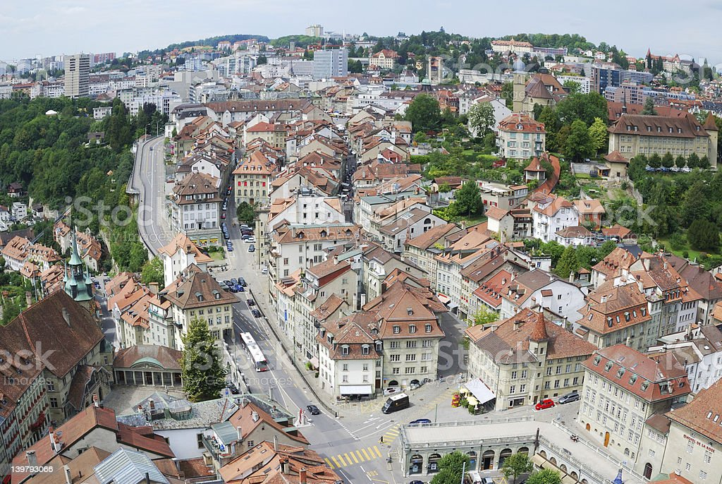 Summer view of Fribourg. stock photo