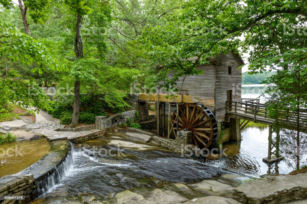 A summer view of Grist Mill in Stone Mountain State Park, Atlanta, Georgia, USA. stock photo