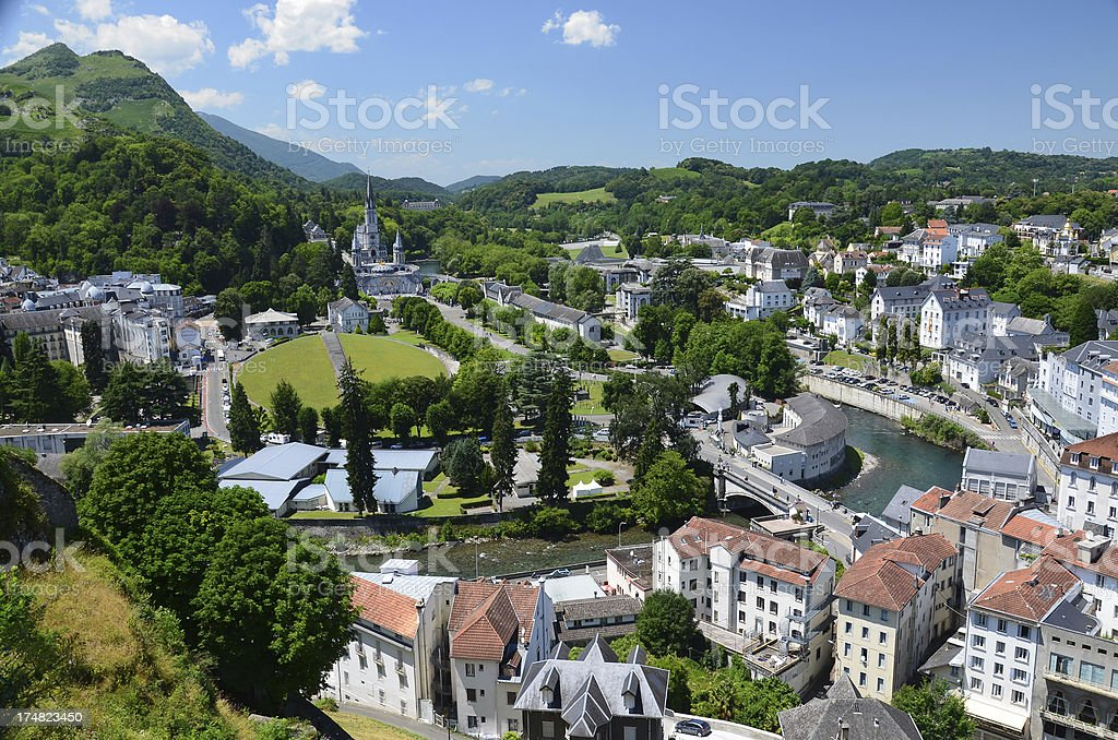 Summer view of Lourdes stock photo