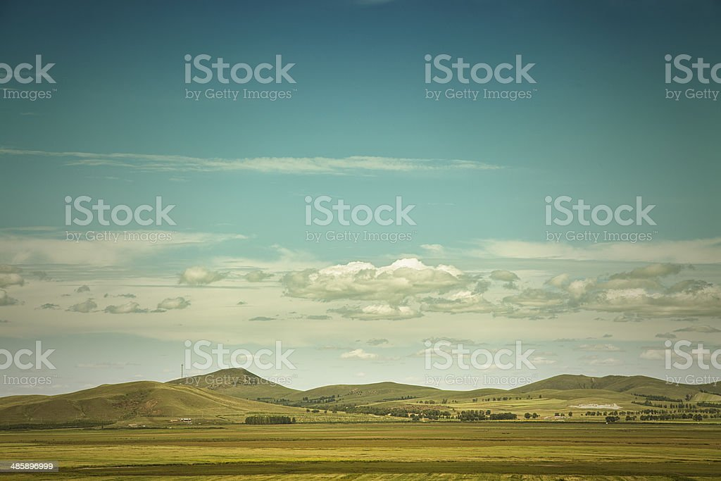 Summer view of meadows, mountains in china stock photo