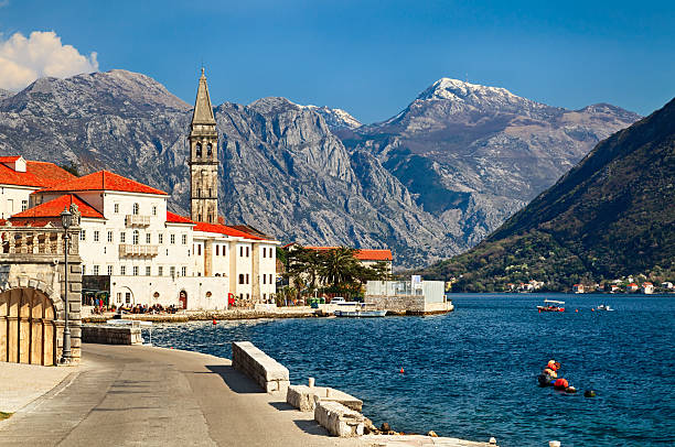 summer view of perast, small town in bay of kotor in montenegro - karadağ stok fotoğraflar ve resimler