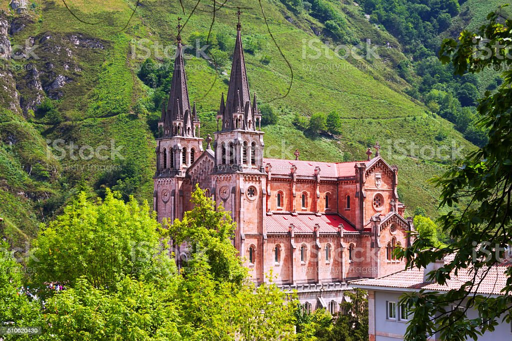 Summer view of Sanctuary of Covadonga stock photo