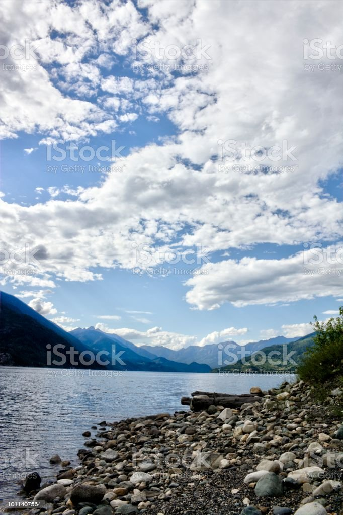 Summer view of Slocan Lake and Valhalla Park, BC, Canada. stock photo