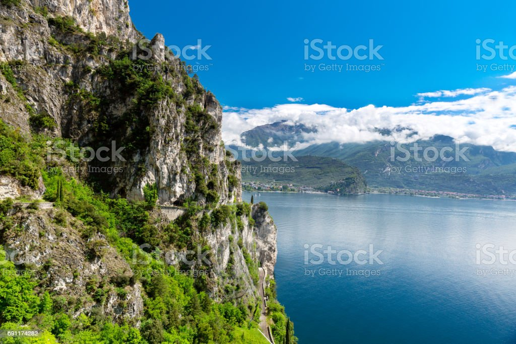 Summer view over of lake Garda, Italy stock photo