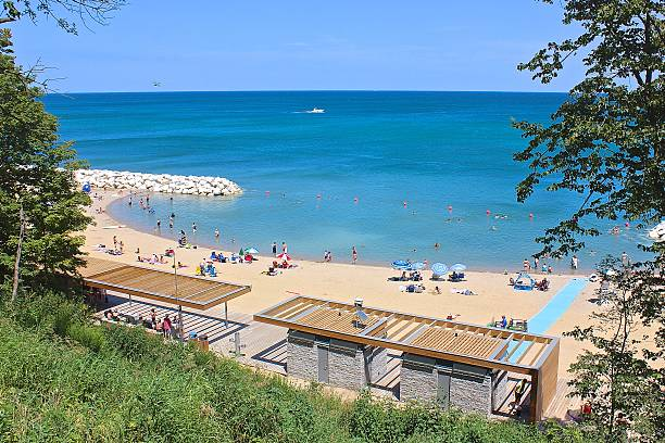 Summer view overlooking Lake Michigan and restored beach stock photo