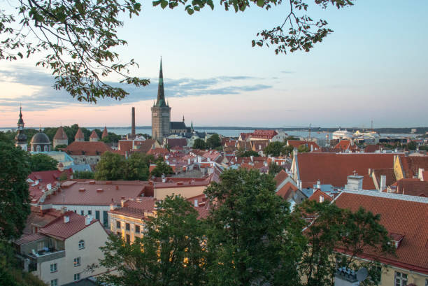 Summer view to Tallinn old town. stock photo