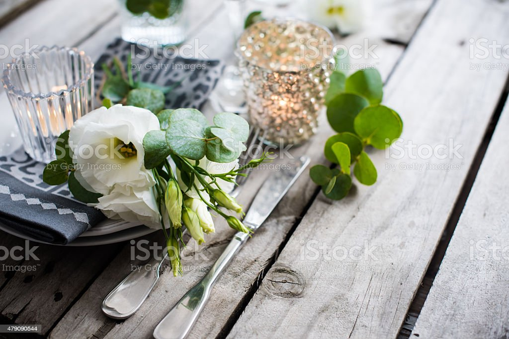 summer wedding table decoration stock photo