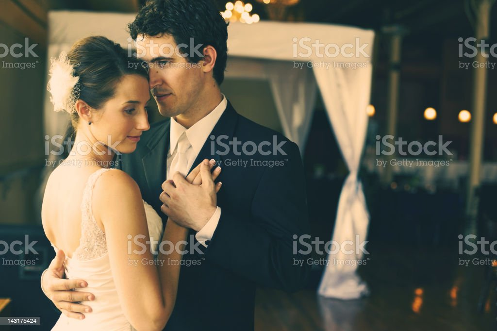 summer wedding young couple dancing stock photo