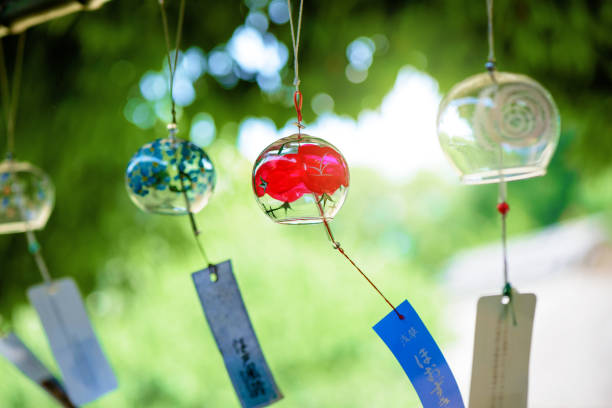 Summer wind chimes Summer wind chimes. Summer scenery in Japan. Accessories to heal the summer heat. sentimentality stock pictures, royalty-free photos & images
