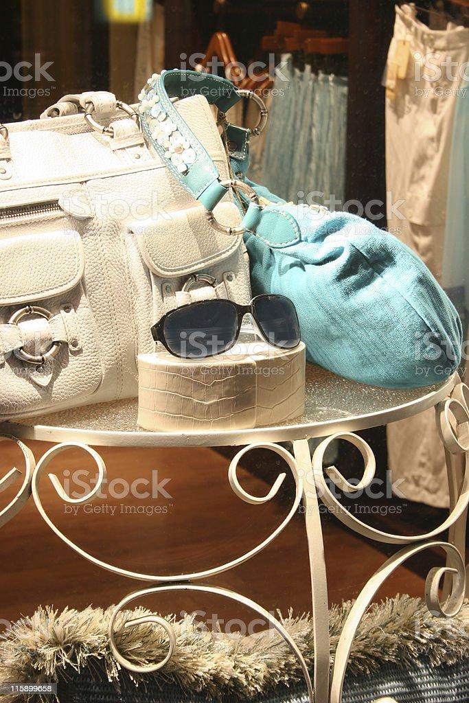 Summer Window Display. Clothing boutique. Women's fashion. Handbags. Clothes. royalty-free stock photo