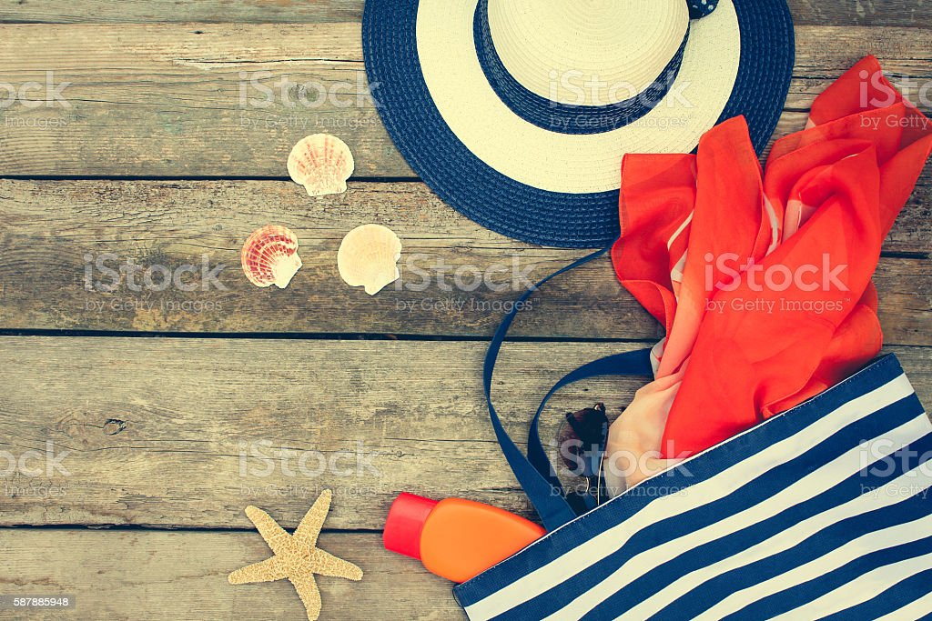 Summer women's beach accessories for your sea holiday - foto de stock