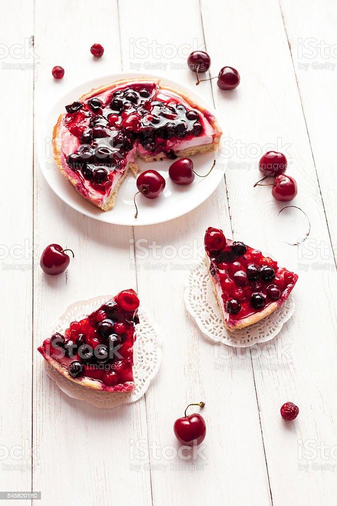 summer yogurt dessert with berries, cake stock photo