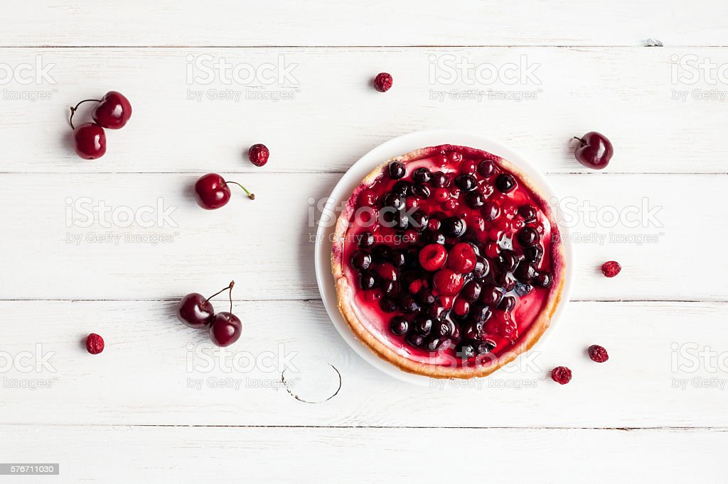 summer yogurt dessert with berries, top view, flat lay stock photo