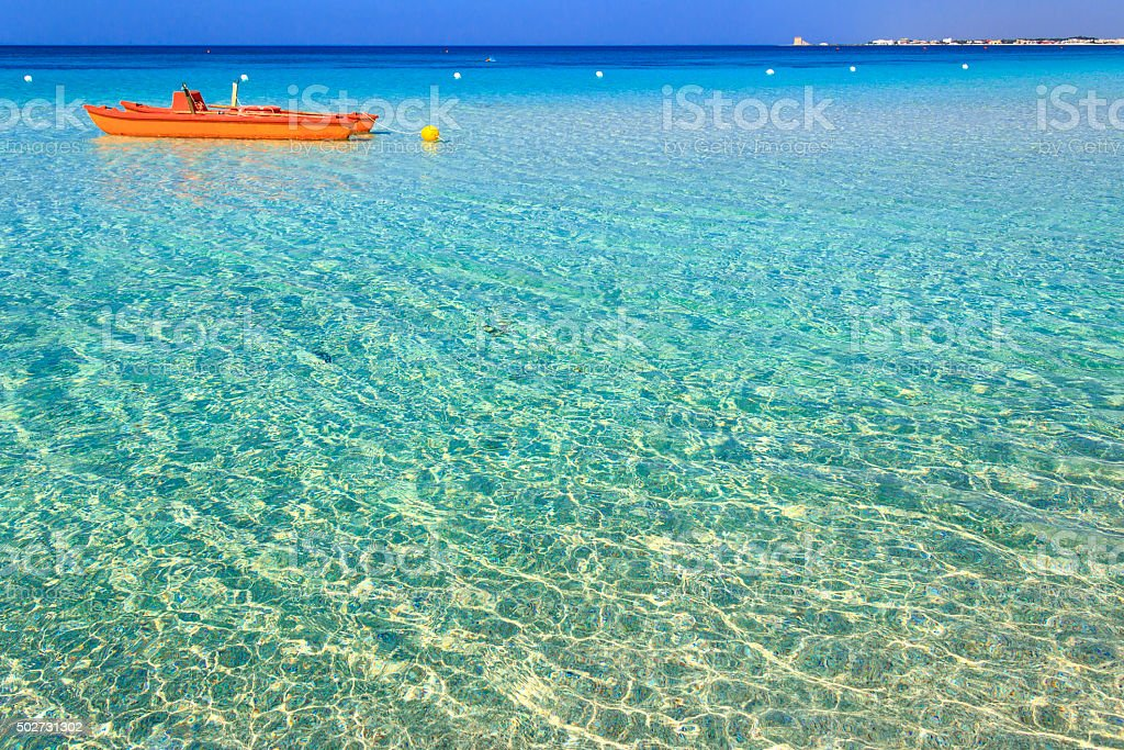 SUMMER.Best sandy beaches Apulia (Salento coast,Lecce).- ITALY(Apulia)- stock photo