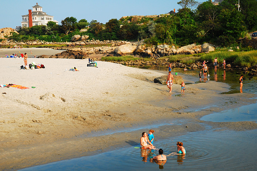 Summers Day At Good Harbor Beach Gloucester Stock Photo - Download Image Now